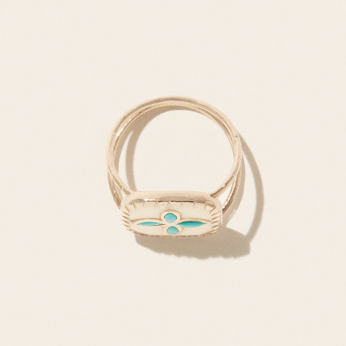 Pascale Monvoisin Ring BOWIE N°2 WHITE TURQUOISE