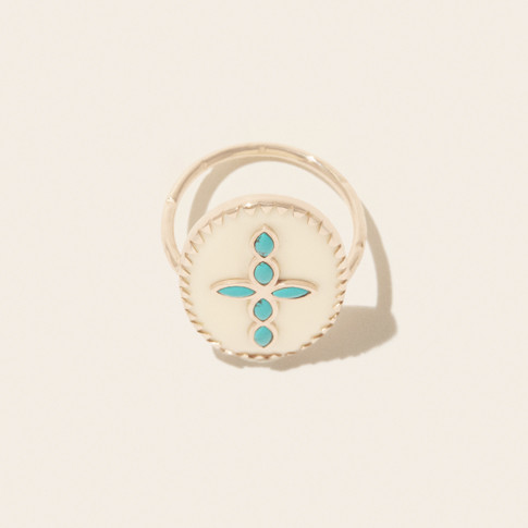 Pascale Monvoisin Ring BOWIE N°3 WHITE TURQUOISE